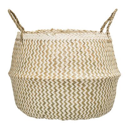 Seagrass zigzag basket white nature 229060
