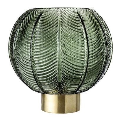 Spherical leaf glass vase green brass 613022