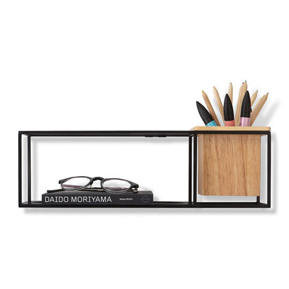 Cubist wall shelf natural beech black small 640945