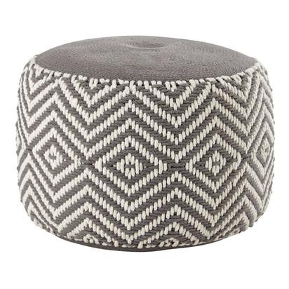 Grey and white cotton pouffe 1000 14 25 157383 1