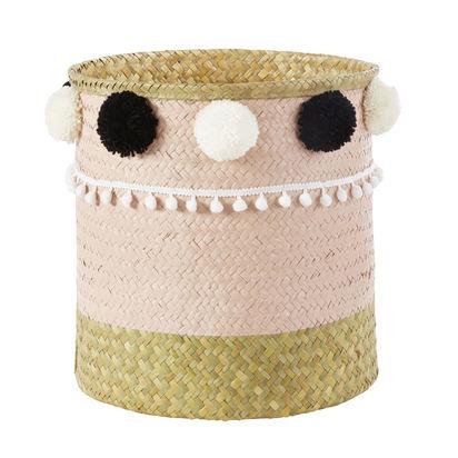 Pastel pink plant fibre basket with tassels 1000 10 29 181536 1