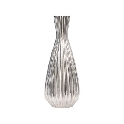 Argento ribbed silver metal vase small 107624 p