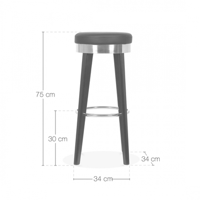 Cult living fusion wooden bar stool with metal ring black gold 75cm p7896 96448 image