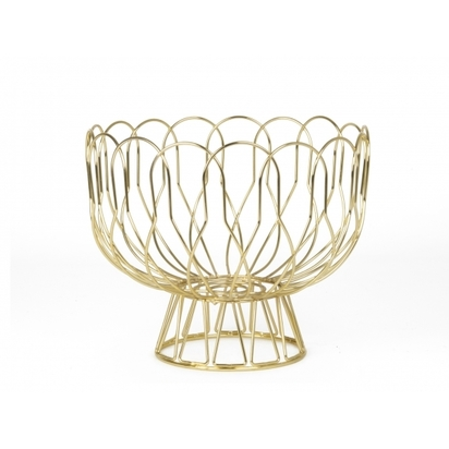 Present time metal wire fruit bowl gold p6324 74374 image