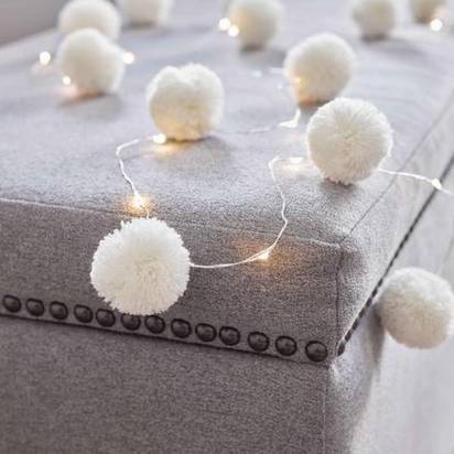Original white pom pom fairy lights