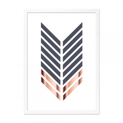 Cult living arrow print framed poster grey and copper a2 p9148 109490 image