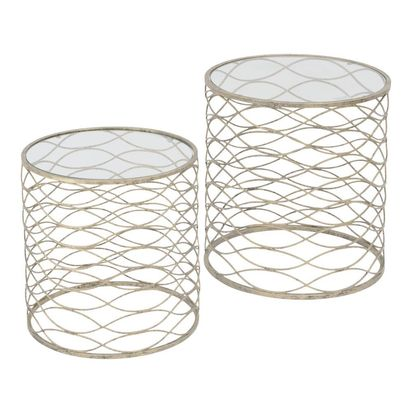 Gatsby antique silver nesting side tables 13451 p