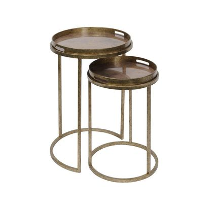 Vasco aged gold round nesting tray tables with map print tops 48368 p