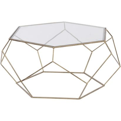 Rhonda antique gold cage glass coffee table 62388 p