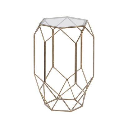 Rhonda antique gold cage glass side table 62389 p