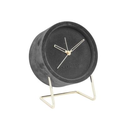 Karlsson lush velvet alarm clock charcoal grey p14877 183915 image
