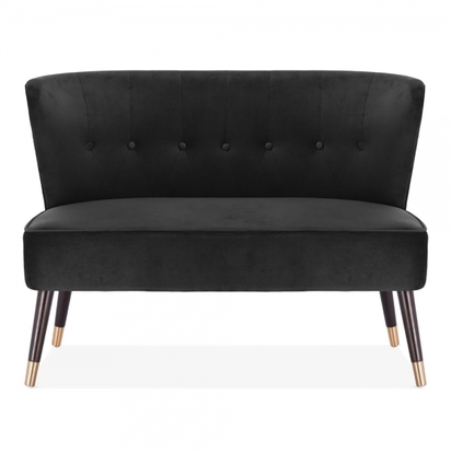 Cult living penelope 2 seater sofa velvet upholstered onyx black p14451 190019 image