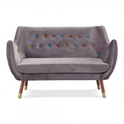 Cult living poet 2 seater sofa velvet upholstered charcoal grey with multicolour buttons p14234 180421 image