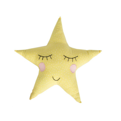 Polka dot pastel yellow star cushion