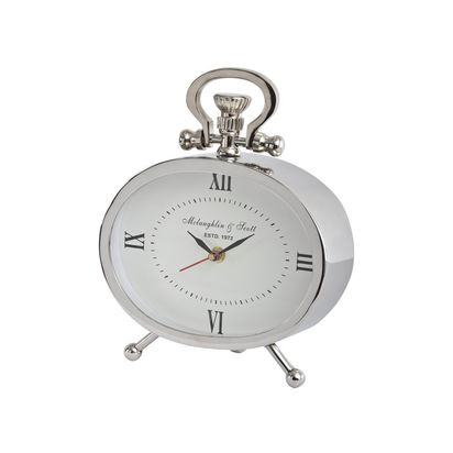 Rodo oval silver metal mantel clock 82615 p
