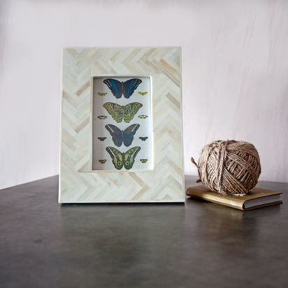 Cao2222 white parquet chevron bone inlay photo frame