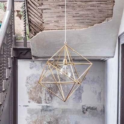Sie6764 geometric brass pendant