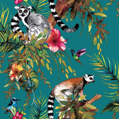 Hld044 lemur wallpaper teal ae1