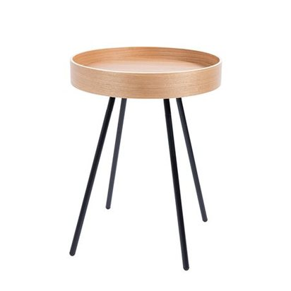 Small wooden side table with removable tray