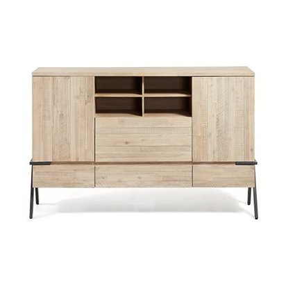 Industrial acacia wood storage unit with compartments