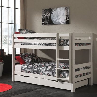 Pino childrens low bunk bed with storage drawers