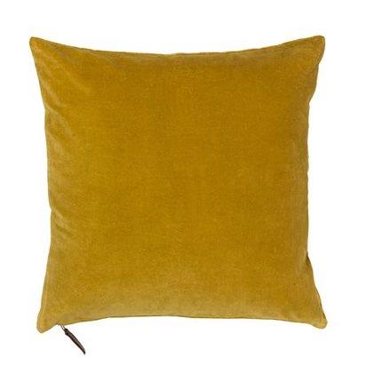 Soft velvet cushion in curry