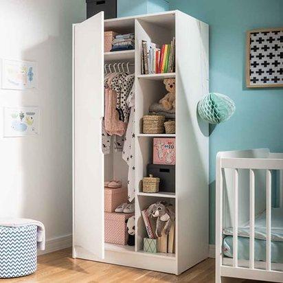 2 door maxim nursery wardrobe in white