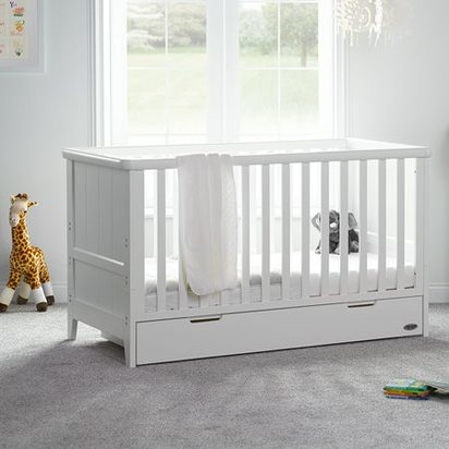 Belton cot bed in white with storage drawer