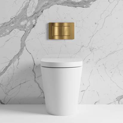 Lusso senza back to wall rimless matte toilet inc cistern and brushed gold flush plate p1629 9887 zoom