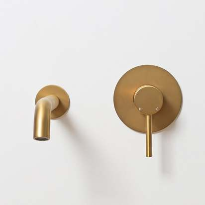 Lusso luxe wall mounted bath mixer valve spout brushed gold p1350 8317 zoom
