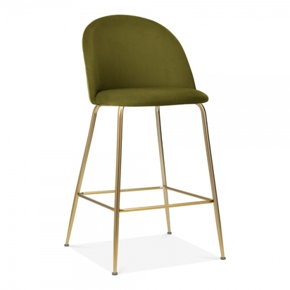 Cult studio heather bar stool with backrest velvet upholstered olive green 65cm p17445 639868 image