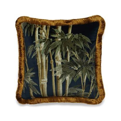 Bambusa velvet fringed cushion midnight 1