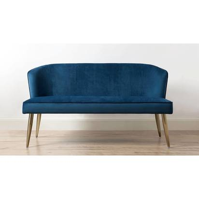 Mellow velvet and brass 3 seater bench with backrest 6