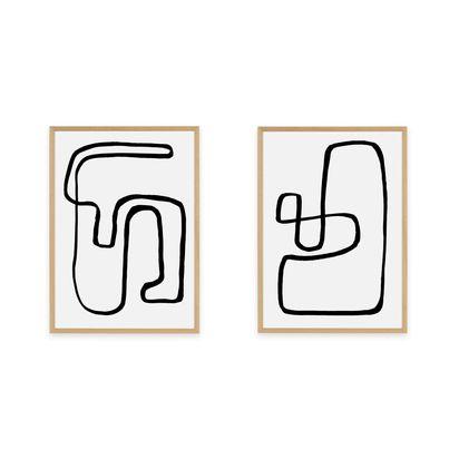 26404b05360f50e89c556f40c9c49de3df5ffb60 arla abstract knots set of 2 framed wall art prints black  white with oak frame lb01
