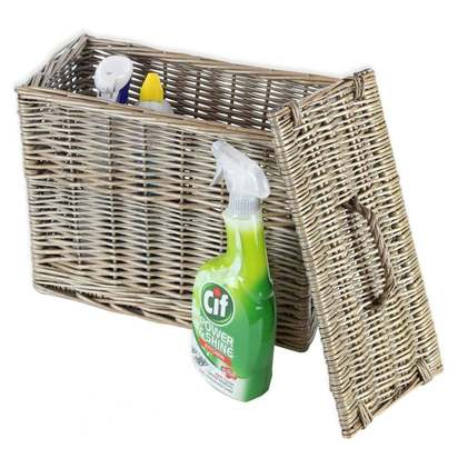 Antique wash wicker toilet roll basket holder p950 3772 image