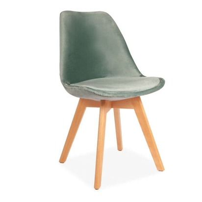 X1 green velvet tulip dining chairs with beech legs 379 p