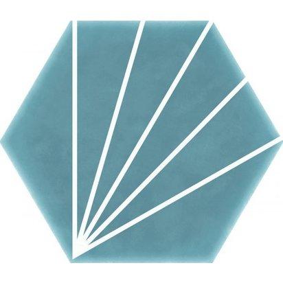 Striped hexagon aqua 600x514